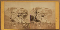 Monaco Il Rocher Stereo di Carta Albume D'Uovo Vintage Ca 1860