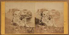 Monaco Le Rocher Stéréo Papier albuminé Vintage ca 1860