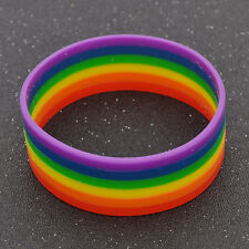 Silicone Gifts PRIDE Wristband Colorful Bracelet Bangle Lovers Gay Rainbow