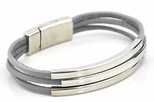 Three strands real leather bracelet interlock silver magnetic clasps tubes