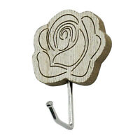Gancio da parete a forma di cuore / fiore in legno stile vintage