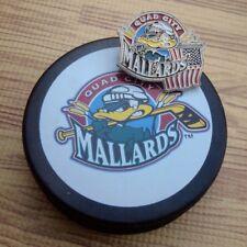Quad City Mallards 2002 Logo UHL Hockey Puck & 2 Suit Pins American Flag Logo