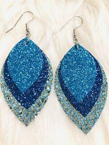 Blue / Sapphire /  Aqua Glitter Canvas Faux Leather Earrings Triple Layer