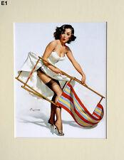 "Gil Elvgren Mounted Print  E1 - Pin-Up Art - Stockings   SIZE  14"" X 11"""