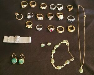 Vintage Costume Jewelry Lot Signed Sarah Coventry Set Owl Mesh Avon Rings