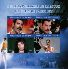 More details for chad music stamps 2021 mnh freddie mercury queen 30th memorial anniv 4v impf m/s