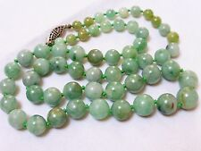 CHINESE VINTAGE GREEN APPLE JADE BEAD NECKLACE, SILVER  CLASP, 41 GRAMS