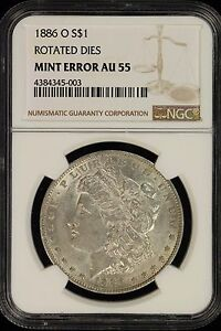 MINT ERROR-RARE 1886-O Morgan Dollar NGC AU-55- error