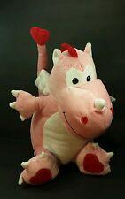 "Animal Adventure Pink Love Dragon Valentines Day Heart plush NWOT 12"""
