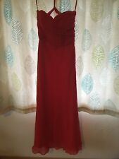 Gino Cerruti Long Scarlet Red Silver Crystal Prom Evening Gown Dress Size 14
