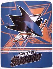 "Blanket Fleece Throw NHL San Jose Sharks NEW 50""x60"" with protective sleeve"