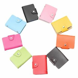 Color Portable PU Leather Wallet Business Card Clip Card Organizer Card Holder