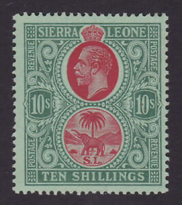 Sierra Leone. 1912-21. SG 127, 10/- red & green/green. Very fine mint.