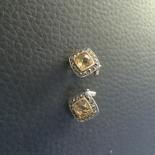 Judith Jack Sterling Silver 925 Semiprecious Clip Earrings Marcasite Quartz