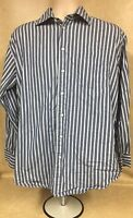 Nautica Men's Long Sleeve Button Down Dress Shirt Size 16 34/35 Striped Blue