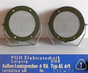 2x DDR 1970er Außen Lautsprecher 6VA Typ AL6/1 NVA Armee RFT 6506  PGH Leipzig