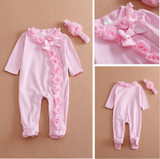 Newborn Baby Girl Clothes Bow/Flowers Romper Clothing Set Jumpsuit  Headband