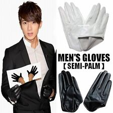 New Fashion Men's Real Goatskin Leather Palm-Half Gloves Fingers Driving Gloves