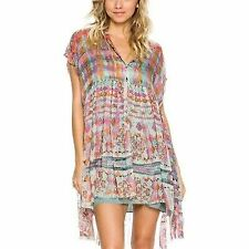 181d3eecdd2 8628 New Free People Fp One Empire Extreme Printed Shirt Tunic Dress Small S