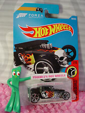 Forza BONE SHAKER #208☆Black;hw flame driver☆DAREDEVILS☆2017 i Hot Wheels☆Case K