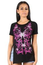 Womens Cap Sleeve Ladies Side Split Slit Glitter Butterfly Print Long Top TShirt