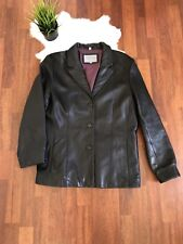 Juliet Michelle By Adler Woman Black Leather Jacket Sz L Long Sleeve