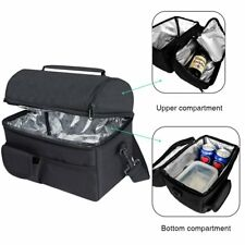 Insulated Lunch Bag Thermal Warm Cool Food Lunchbox Work Meal Storage Black