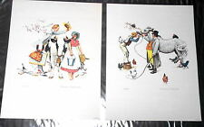 "Norman Rockwel Set of 2 Lithos Plate Signed/Numbered 18""X24"" Traveling Salesman"