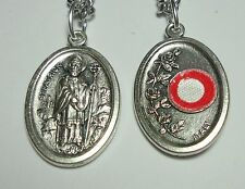 """St Patrick 3rd Class Relic Catholic Holy Medal on 24"""" Stainless Steel Chain NEW"""