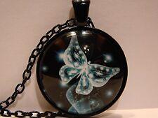 Halskette Kette Cabochon Diamant Schmetterling Anhänger Glas Medaillon Schmuck