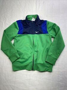 Youth Nike Zip Up Track Jacket Sweatshirt Size 7/L navy blue green black long sl