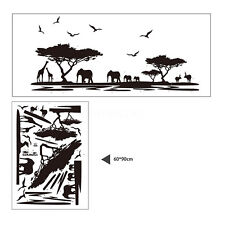 PVC African Safari Themed Wall Sticker Jungle Animal Tree Mural Livingroom Decor