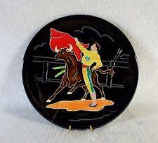 Assiette en céramique émaillée PERPIGNAN Décor de tauromachie 1950's TBE