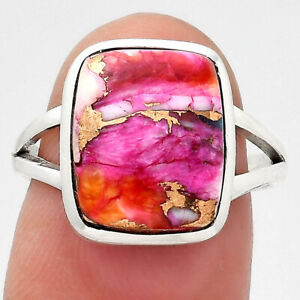 Kingman Orange Dahlia Turquoise 925 Sterling Silver Ring s.7 Jewelry 3115