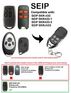 SEIP EKR1MCG, EKR4MD, EKR4SP439 Compatible Remote Control Rolling Code 433.92MHz