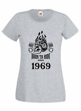 T-shirt Maglietta donna J2239 Motor and Skull Born To Ride Since 1969 Compleanno