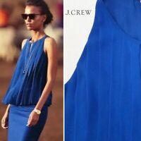 J Crew Women's Pleated Chiffon Shirt Sleeveless Top High Neck Blue Size 0