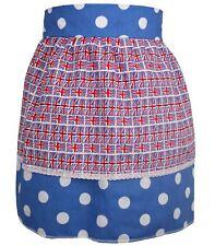 Ladies Blue Polka Dot Pinafore With Union Jack Apron Great British Bake Off