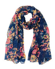 Wrapables® Lightweight Floral Spring Long Scarf Wrap Shawl, Navy