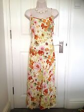 NEW Per Una 100% Linen Orange Yellow Summer Midi Dress Sundress Size 16 Long