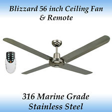 "Blizzard 56"" 316 Marine Grade Stainless Steel Outdoor Ceiling Fan with Remote"