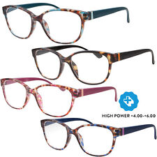 High Power Strong Magnification Reading Glasses Womens Cat Eye 4.00 5.00 6.00