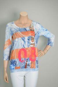 "MISSY 3/4-Arm Shirt ""No. 08"" Jeansblau Orange Pink - viel Strass & Glitzer - NEU"