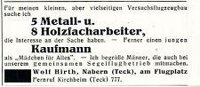 Wolf Hirth Nabern FACHARBEITER FÜR VERSUCHSFLUGZEUGBAU GESUCHT Annonce von 1940