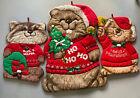 Vintage Shirtales Christmas Decorations 1980s Rare Lot Of 3 Handmade Fabric Bell