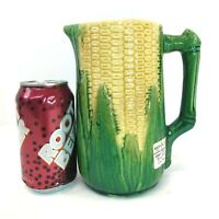 "Vintage 7.5"" Tall Brush McCoy CORN PITCHER #52 Majolica"