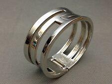 Lia Sophia Silvertone Right Turn Geometric Cuff Clamp Bangle Bracelet~Retail $58