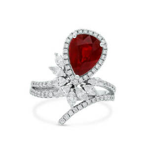 Ruby Ring Vivid Red Natural 3.84 Ct Pear Shape 18k Whote Gold GRS Certified
