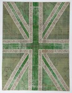 Union Jack British Flag Design Patchwork Rug Made from Re-Dyed Vintage Carpets