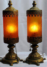 """Pair of Antique Mantle or Boudoir Lamps-Over 12"""" tall-Amber Shades-All Origional"""